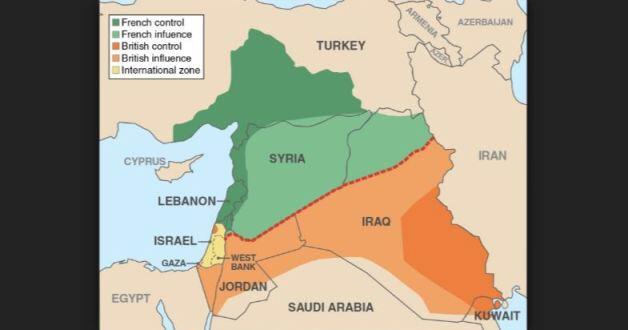 Hình Bản đồ các nước Trung đông sau khi phân chia