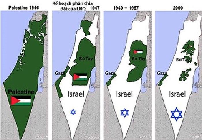 Hình Kế hoạch phân chia Israel vs. Palestine qua các thời kỳ