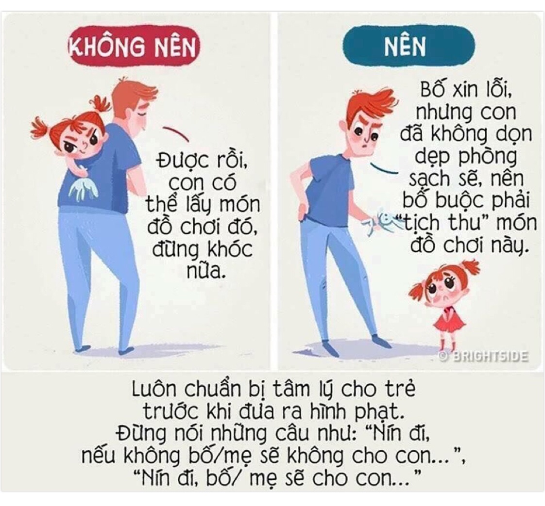 """Luôn chuẩn bị tâm lý cho trẻ trước khi đưa ra hình phạt. Đừng nói những câu như: """"Nín đi, nếu không bố/mẹ sẽ không cho con..."""", """"Nín đi, bố/mẹ sẽ cho con...""""."""