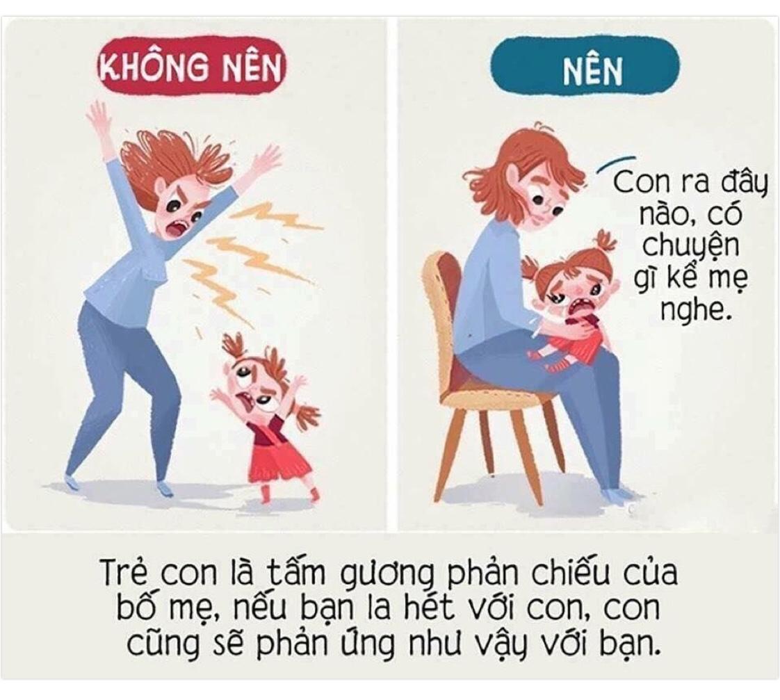 Trẻ con là tấm gương phản chiếu của bố mẹ, nếu bạn la hét với con, con cũng sẽ phản ứng như vậy với bạn.